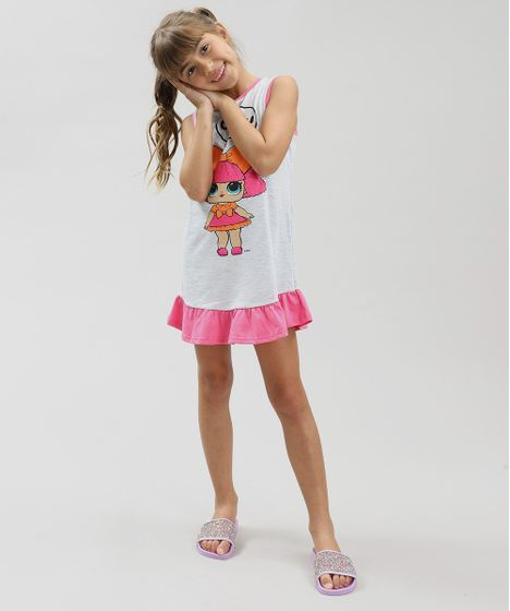 95749bada Camisola Infantil LOL Surprise com Glitter e Babado Sem Manga Cinza ...