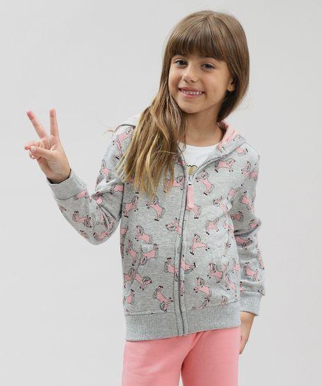 Blusao-Infantil-Estampado-de-Unicornios-com-Capuz-em-Moletom-Cinza-Mescla-9362175-Cinza_Mescla_1