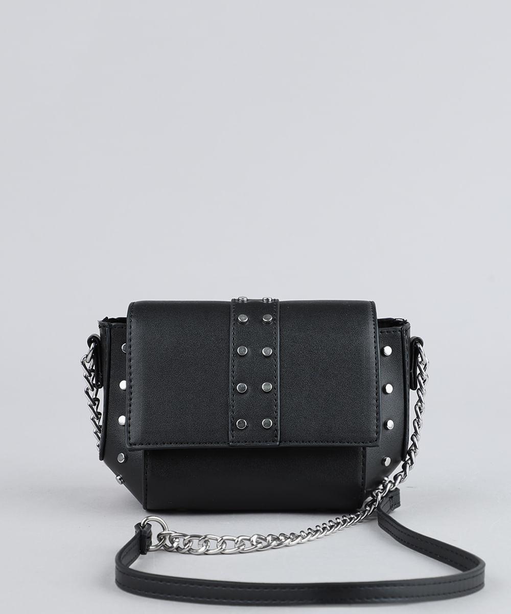 097fb8341 Bolsa Feminina Transversal Pequena com Tachas e Alça de Corrente ...