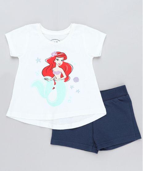 Conjunto-Infantil-Pequena-Sereia-Ariel-de-Blusa-Manga-Curta-Off-White---Short-em-Moletom-Azul-Marinho-9419577-Azul_Marinho_1