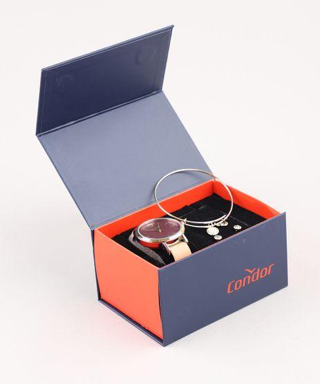 Kit-de-Relogio-Analogico-Condor-Feminino---Brinco---Pulseira---CO2035KYSK2T-Bege-9507906-Bege_1