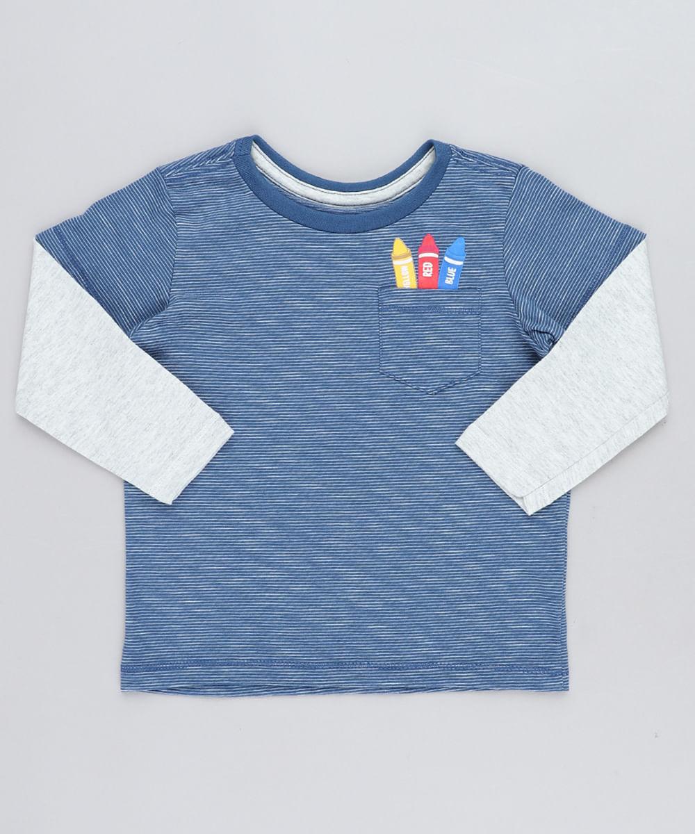 85564b5c3d Camiseta Infantil Listrada Giz de Cera com Bolso Manga Longa Gola ...