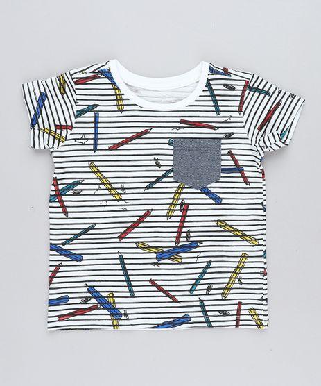 Camiseta-Infantil-Listrada-com-Bolso-Manga-Curta-Gola-Careca-Branca-9441602-Branco_1