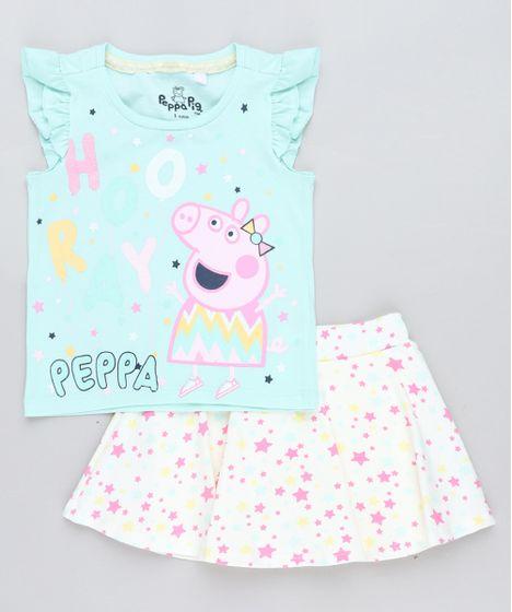 07655d42d Conjunto Infantil Peppa Pig de Regata Verde Claro + Short Saia ...