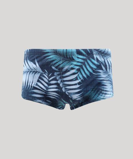 Sunga-Masculina-Estampada-de-Folhagem-Azul-9443752-Azul_1