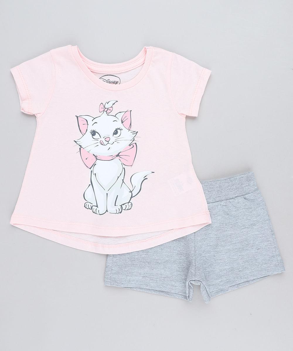 9ac9c0783 Conjunto Infantil Marie de Blusa Manga Curta Rosa Claro + Short em ...