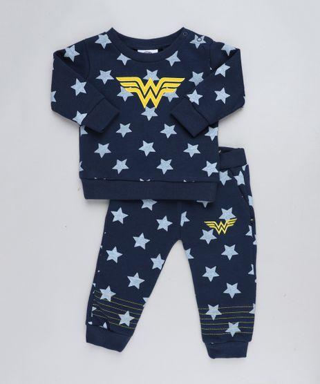 Conjunto-Infantil-Mulher-Maravilha-de-Blusao---Calca-Estampada-de-Estrelas-em-Moletom-Azul-Marinho-9200195-Azul_Marinho_1