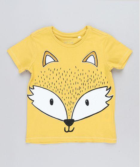 56ddb19b04 Camiseta Infantil Raposa com Orelhinhas Manga Curta Gola Careca ...