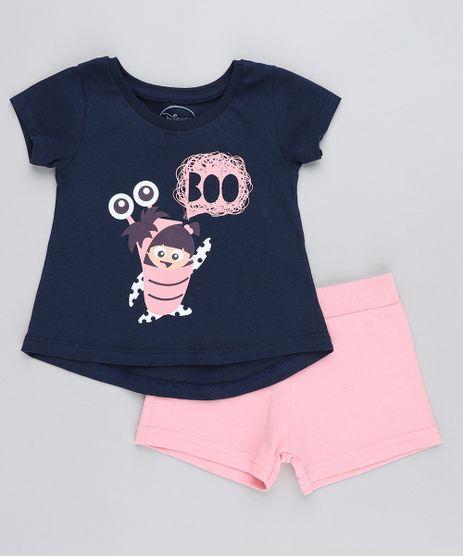 Conjunto-Infantil-Boo-Monstros-S-A--de-Blusa-Manga-Curta-Azul-Marinho---Short-em-Moletom-Rosa-9419576-Rosa_1