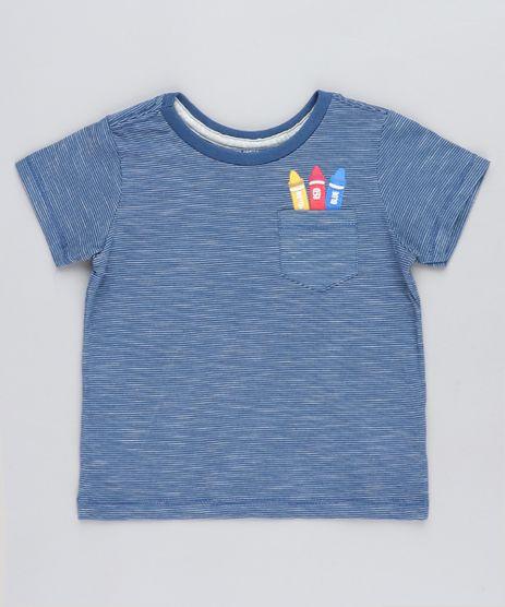 Camiseta-Infantil-Listrada-Giz-de-Cera-com-Bolso-Manga-Curta-Gola-Careca-Azul-9441604-Azul_1