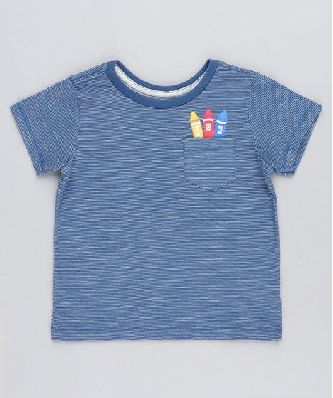 848765bc6a Camiseta Infantil Listrada Giz de Cera com Bolso Manga Curta Gola ...