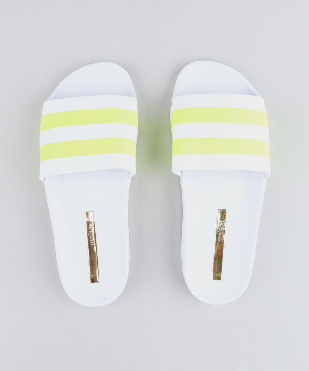4bf5100e2f7e Chinelo Slide Feminino Moleca com Faixas Neon Branco - cea