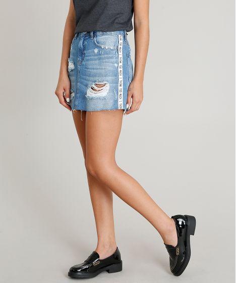 12a344407 Saia Jeans Feminina Destroyed com Faixa Lateral Azul Claro - cea