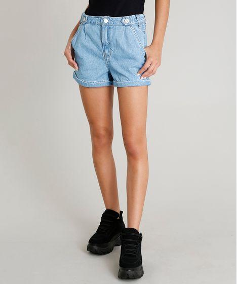 d1e77f1a9 Short Jeans Feminino Mom com Martingale Azul Claro - cea