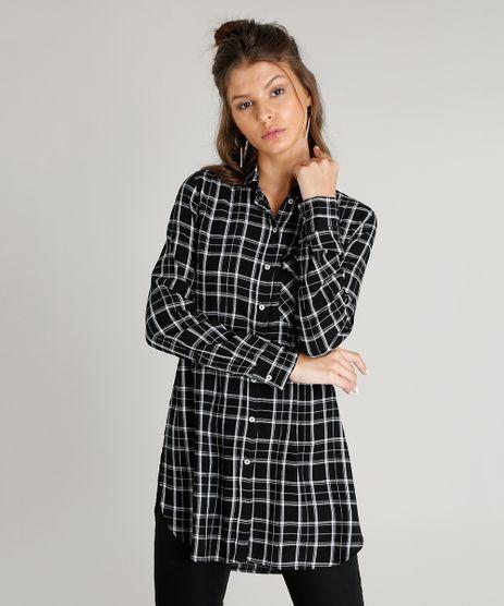Camisa-Feminina-Longa-Estampada-Xadrez-com-Bolso-Manga-Longa-Preta-9365398-Preto_1