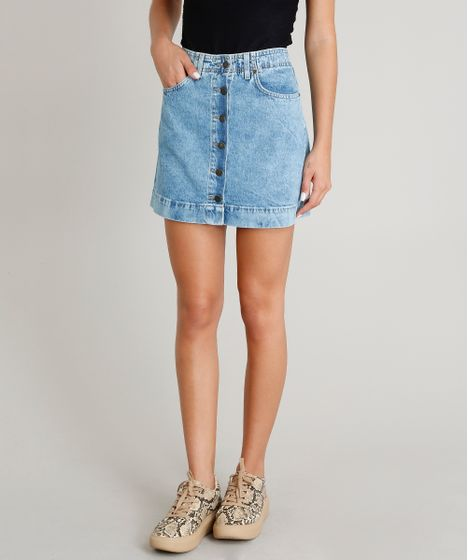 d39d05ca8 Saia-Jeans-Feminina-com-Botoes-Azul-Claro-9463408- ...