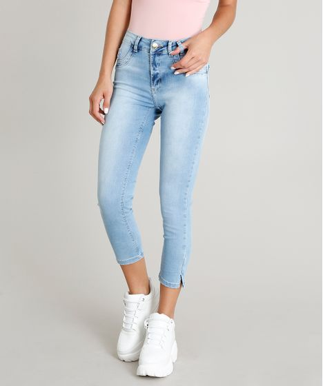 61e209cbb Calca-Jeans-Feminina-Sawary-Cropped-Azul-Claro-9446786- ...