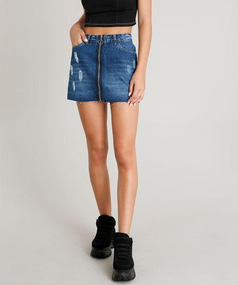 Saia-Jeans-Feminina-Destroyed-com-Ziper-de-Argola-Azul-Escuro-9406098-Azul_Escuro_1