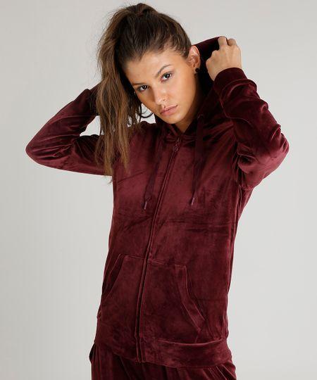 1f51e7b63 Blusão Feminino Esportivo Ace em Plush com Capuz Vinho | Menor preço ...