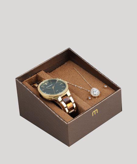 bb6caa77566 Kit de Relógio Analógico Mondaine Feminino + Brinco + Colar - 76713LPMVDE2K  Dourado - cea