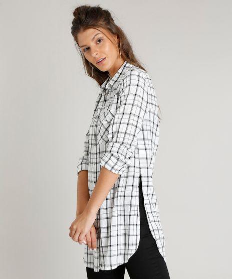Camisa-Feminina-Longa-Estampada-Xadrez-com-Bolso-Manga-Longa-Off-White-9365398-Off_White_1