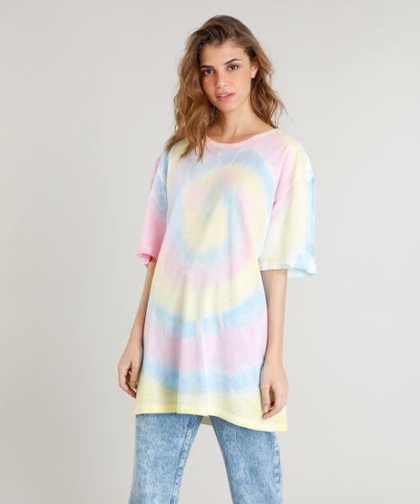T-shirt-Longa-Feminina-Mindset-Tie-Dye-Estampada-Manga-Curta-Amarelo-Claro-9510064-Amarelo_Claro_1