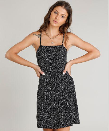 Vestido-Feminino-Curto-Evase-Estampado-de-Poa-Alca-Fina-Preto-9464448-Preto_1