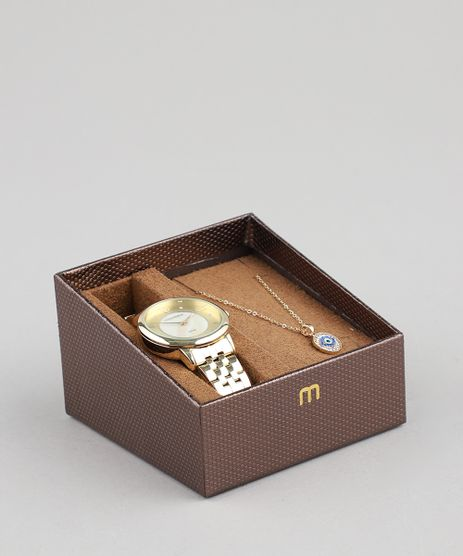 Kit-de-Relogio-Analogico-Mondaine-Feminino---Colar---99302LPMGDE1K1-Dourado-9507800-Dourado_1