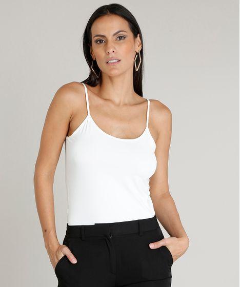 5aac79d164 Regata Feminina Básica Alças Finas Decote Redondo Off White - cea