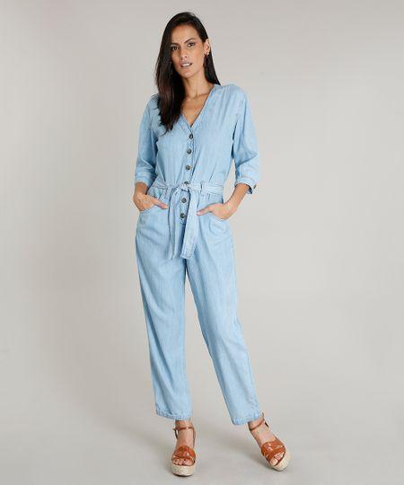 dbdee7b3c Menor preço em Macacão Jeans Feminino com Faixa para Amarrar Manga Curta  Azul Claro