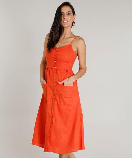 Vestido-Feminino-Midi-em-Linho-com-Botoes-e-Bolsos-Laranja-9361316-Laranja_1