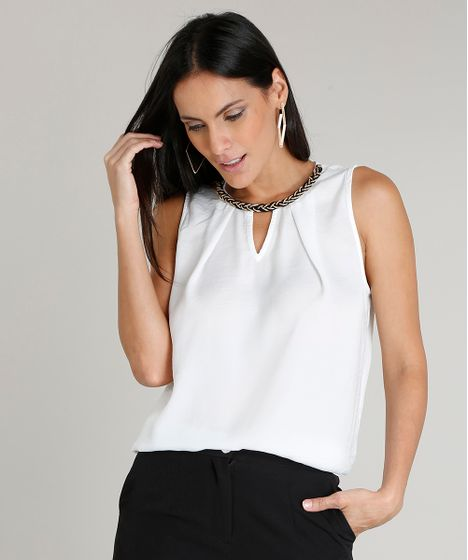 258dc883ca Regata Feminina com Corrente Decote Redondo Off White - cea