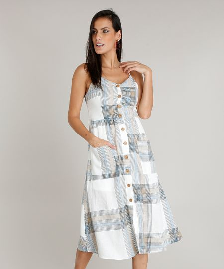 0412e744ab Menor preço em Vestido Feminino Midi em Linho Estampado Xadrez com Botões e  Bolsos Off White