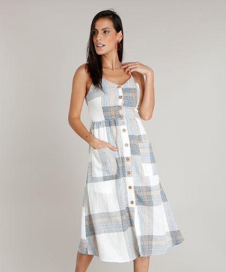 Vestido-Feminino-Midi-em-Linho-Estampado-Xadrez-com-Botoes-e-Bolsos-Off-White-9361315-Off_White_1