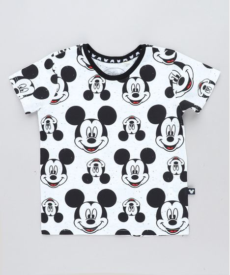f47f41b501 Camiseta Infantil Mickey Estampada Manga Curta Gola Careca Off White ...