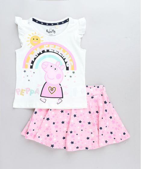 245f3a083 Conjunto Infantil Peppa Pig de Regata Off White + Short Saia ...