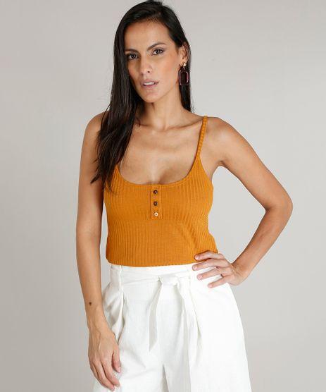 Regata-Feminina-Canelada-com-Botoes-Decote-Redondo-Mostarda-9459689-Mostarda_1