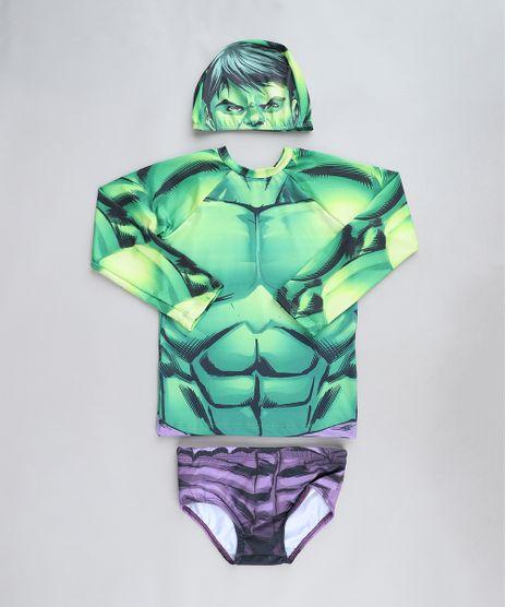 Conjunto-Infantil-Hulk-de-Camiseta-de-Praia---Sunga---Touca-com-Protecao-UV50--Verde-9430865-Verde_1
