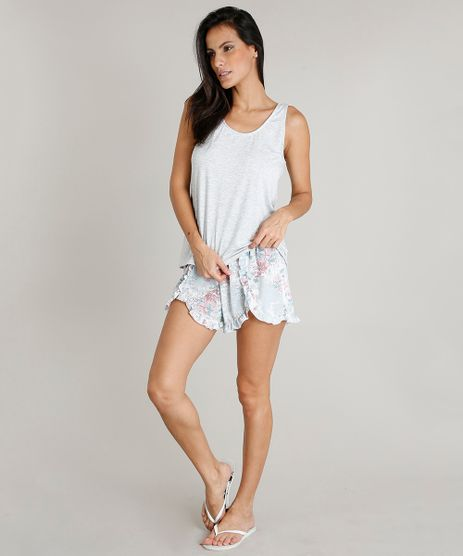 Pijama-Feminino--Happiness--com-Babado-Regata-Cinza-Mescla-Claro-9415985-Cinza_Mescla_Claro_1