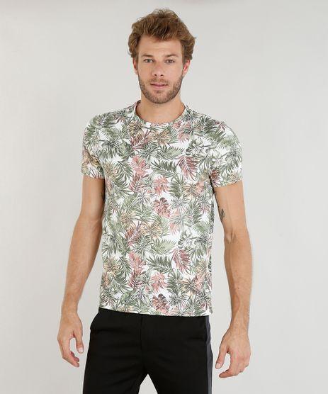 Camiseta-Masculina-Slim-Fit-Estampada-de-Folhagem-Manga-Curta-Gola-Careca-Branca-9391415-Branco_1