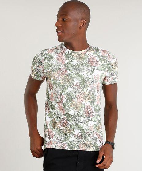Camiseta-Masculina-Slim-Fit-Estampada-de-Folhagem-Manga-Curta-Gola-Careca-Branca-1-9391415-Branco_1_1