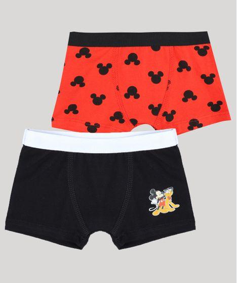 b8cfe2dad44737 Kit de 2 Cuecas Boxer Infantis Mickey Multicor