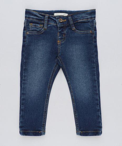 Calca-Jeans-Infantil-com-Barra-Colorida-Azul-Escuro- 8143fa25db1e8