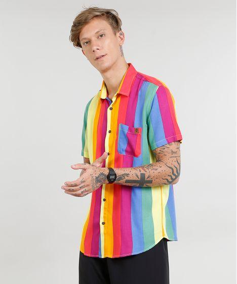 9bd450e05 Camisa Masculina Arco Íris com Bolso Manga Curta Multicor - cea