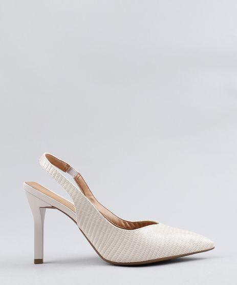 891e8e5098 Scarpin-Feminino-Vizzano-em-Verniz-Texturizado-Bege-Claro-