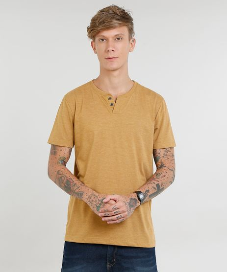 Camiseta-Masculina-Basica-com-Botoes-Manga-Curta-Gola-Careca-Caramelo-9446580-Caramelo_1