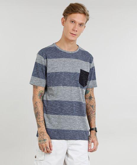 Camiseta-Masculina-Listrada-com-Bolso-Manga-Curta-Gola-Careca-Cinza-Mescla-9435002-Cinza_Mescla_1