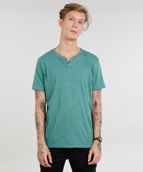 Camiseta-Masculina-Basica-com-Botoes-Manga-Curta-Gola-Careca-Verde-9446578-Verde_1