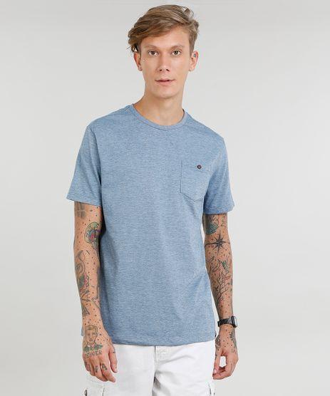 Camiseta-Masculina-com-Bolso-Manga-Curta-Gola-Careca-Azul-9440762-Azul_1