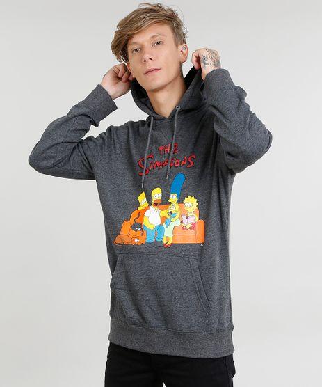 Blusao-Masculino-Os-Simpsons-em-Moletom-com-Capuz-Cinza-Mescla-Escuro-9340171-Cinza_Mescla_Escuro_1